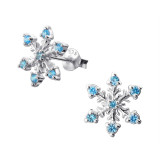 Snowflake - 925 Sterling Silver Stud earrings with CZ SD16162